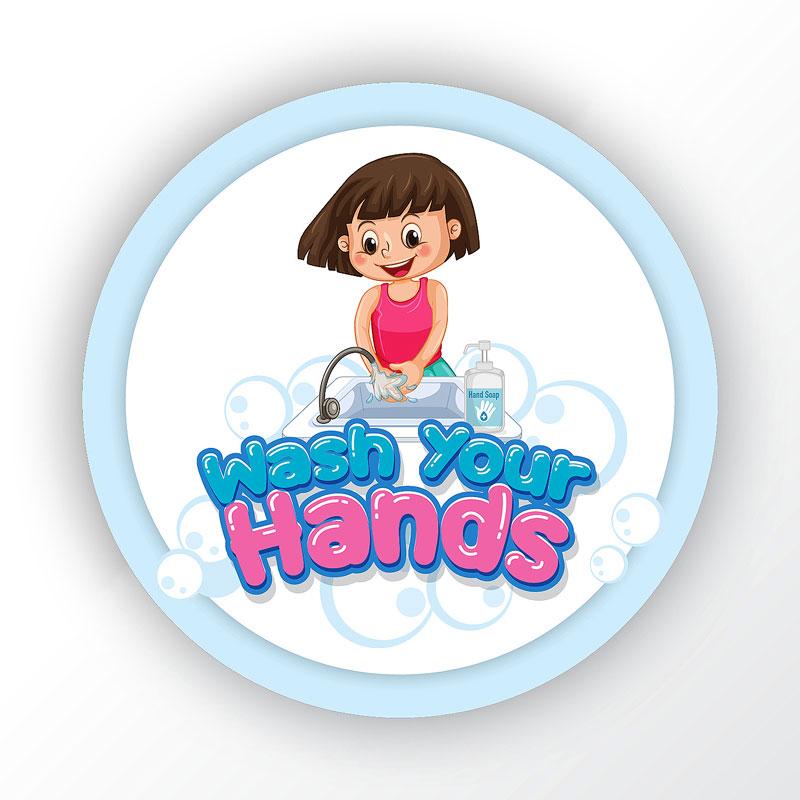 Wash Your Hands Happy Child Round Sticker