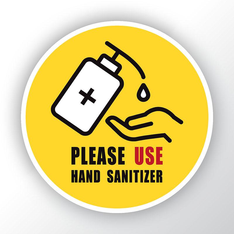Please Use Sanitiser Round Sticker